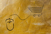 Online business: computer mouse and shopping cart — Foto de Stock