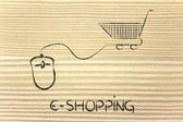 Online business: computer mouse and shopping cart — Stock Photo