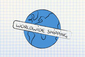 World design with free worldwide shipping — Stockfoto