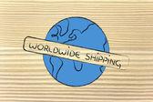 Dünya tasarım ile özgür worldwide gemiler — Stok fotoğraf