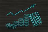 计算器、 钱币和增长的积极指数 — 图库照片