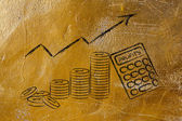Calculator, coins, and positive index of profits — Stock Photo