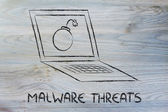 Internet security and malware threats, bomb inside pc — Stock Photo