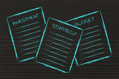 Business documents: investment, strategy, budget — Stockfoto