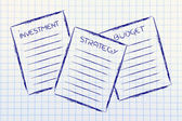 Business documents: investment, strategy, budget — Stock Photo