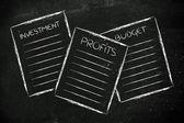Business documents: investment, profits, budget — Foto de Stock
