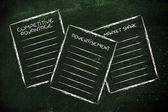Business documents: competitive advantage, advertisement, market — Stock Photo