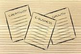 Business documents: creativity, e-business, growth — Stock Photo