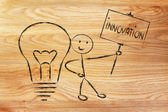 Man with ideas and knowledge promoting innovation — Stock Photo