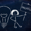 Постер, плакат: Girl with ideas and knowledge promoting innovation