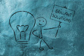 Man with ideas and knowledge promoting brilliant solutions — Stock Photo