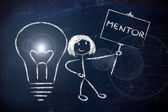 Girl with ideas and knowledge: mentor — Stock Photo