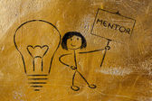 Girl with ideas and knowledge: mentor — Foto de Stock