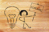 Girl with ideas and knowledge: coach — Stock Photo