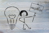 Girl with ideas and knowledge promoting innovation — Stock Photo