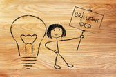 Girl with ideas and knowledge promoting a brilliant idea — Stock Photo