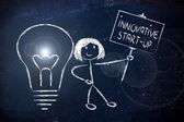 Girl with ideas and knowledge promoting an innovative start-up — Stock Photo