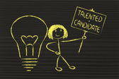 Girl with ideas and knowledge: talented candidate — Foto Stock