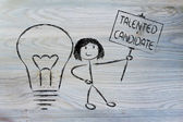 Girl with ideas and knowledge: talented candidate — Stock Photo