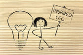 Girl with ideas and knowledge: inspired ceo — Stock Photo
