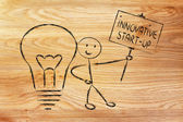 Man with ideas and knowledge promoting an innovative star-up — Stock Photo