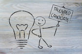 Man with ideas and knowledge: talented candidate — Stock Photo