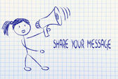 Funny girl with megaphone: share your message — Stock Photo