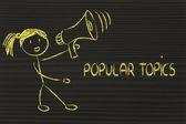 Funny girl with megaphone: popular topics — Foto Stock