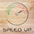 Speedometer and fast success: speed up — Stock Photo