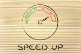 Speedometer and fast success: speed up — Stockfoto