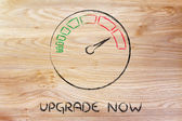 Speedometer and fast success: upgrade now — Stockfoto