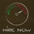 Speedometer and time running fast: hire now — Stock Photo