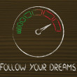 Speedometer and fast success: follow your dreams — Stock Photo #45273667