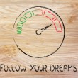 Speedometer and fast success: follow your dreams — Stock Photo