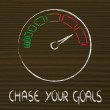 Speedometer and fast success: chase your goals — Stock Photo