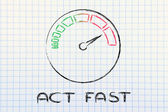 Speedometer and fast success: act fast — Stockfoto