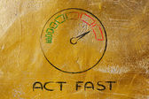 Speedometer and fast success: act fast — Foto Stock