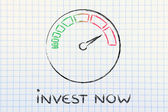 Speedometer and fast success: invest now — Foto de Stock