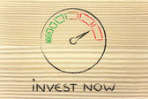 Speedometer and fast success: invest now — Stock Photo