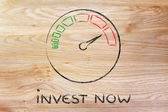 Speedometer and fast success: invest now — Stockfoto