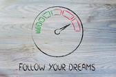 Speedometer and fast success: follow your dreams — Stok fotoğraf