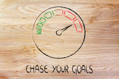 Speedometer and fast success: chase your goals — Stockfoto