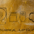 Storage options: hard drives, sd card, usb key or cloud storage — Stock Photo #45667127