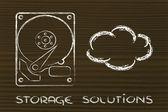варианты хранения: жесткие диски или облачное хранилище — Стоковое фото