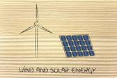 Energias renováveis: eólica turbina do parque e painel solar — Fotografia Stock