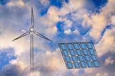 Renewable energy: wind park turbine and solar panel — Stock Photo