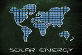 World map covered in solar panels — Stock fotografie
