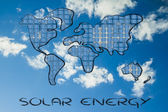 World map covered in solar panels — Stock Photo
