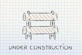 Sous le panneau de signalisation de chantier — Photo