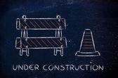 под строительство дорожный знак — Стоковое фото